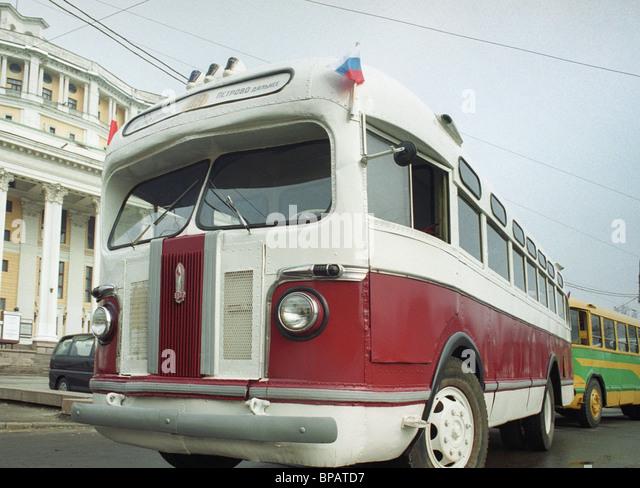 Retro-Busse-Parade in Moskau Stockbild