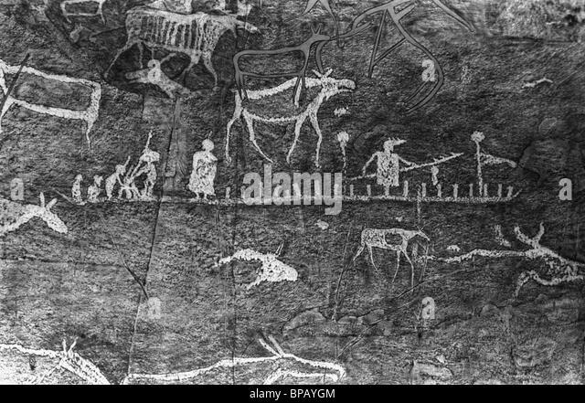 Alte Wandmalereien in Chakassien. 1988. Stockbild