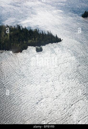 Luftbild der Kiefernwald auf einer Insel, umgeben von windigen Surfen / Wasser. Stockbild
