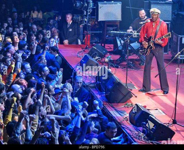Rock ' n ' roll-Legende Chuck Berry in Moskau führt Stockbild