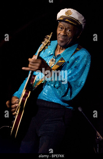 Chuck Berry gibt Konzert in Moskau Stockbild