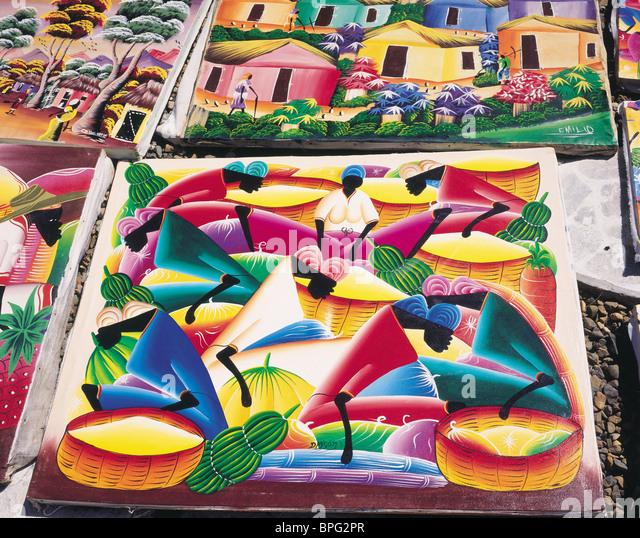 Gemälde, Dominikanische Republik, Caribbean Stockbild