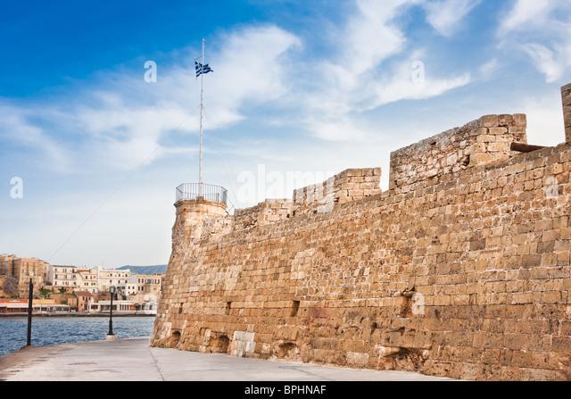 Alte Festung und venezianischen Hafen von Chania, Kreta, Griechenland Stockbild