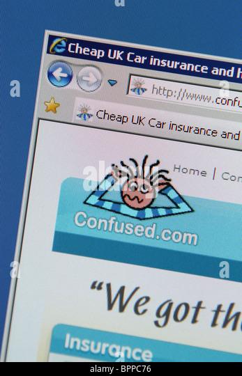 Confused.com günstige Kfz Hausratversicherung Stockbild