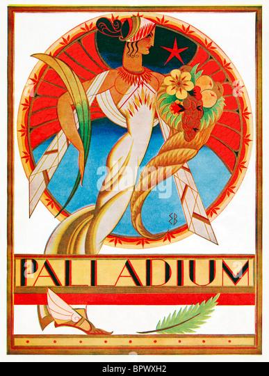 Palladium, 1930 Art Deco-Illustration für die Abdeckung eines Programms für das berühmte Theater Stockbild