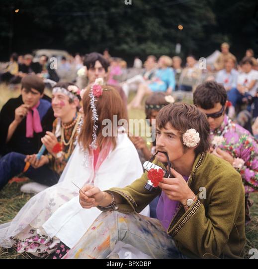 Hippie in London, 1967 Stockbild
