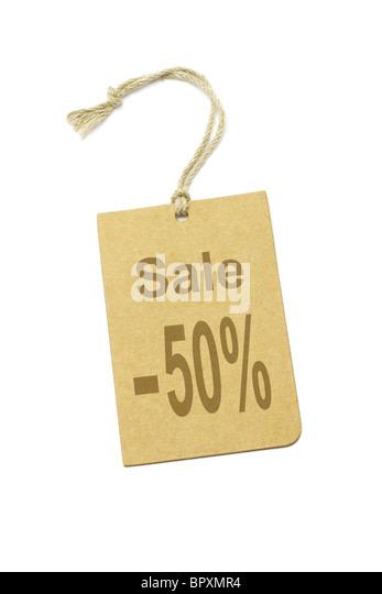 50 % Rabatt Preisschild auf weißem Hintergrund Stockbild