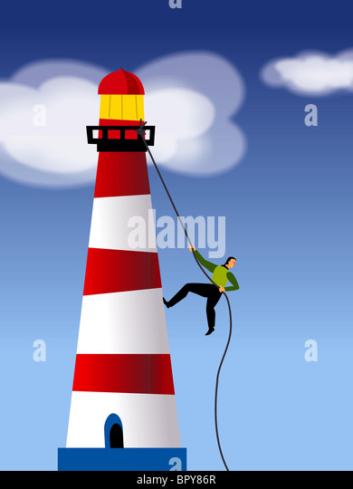 Ein Geschäftsmann Seilklettern ein Leuchtturm Stockbild