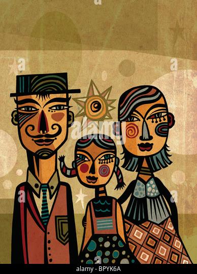 Porträt einer Familie mit Kind Stockbild