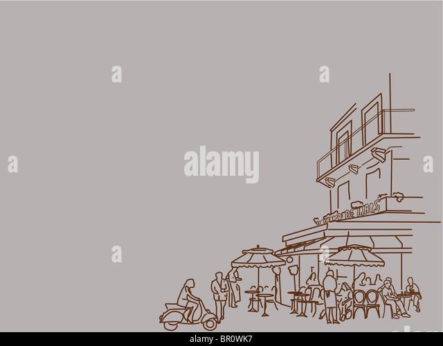 Zur Veranschaulichung der Menschen an einer belebten restaurant Stockbild