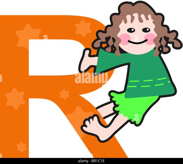 Ein Kind mit dem Buchstaben R Stockbild