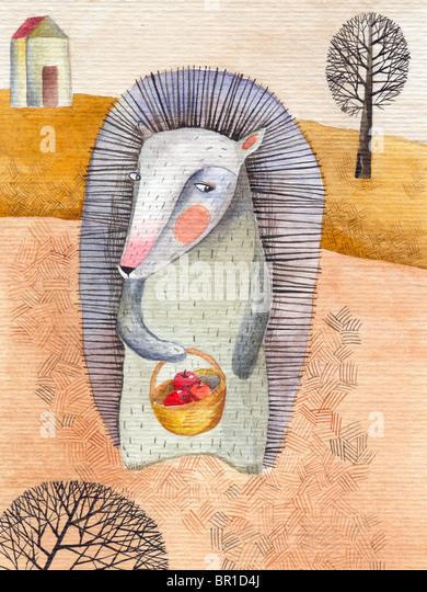 Ein Igel hält einen Korb mit Äpfeln in den Bereichen Stockbild