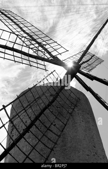 Balearen Windmühle Wind Mühlen Spanien traditionellen Kultur Stockbild