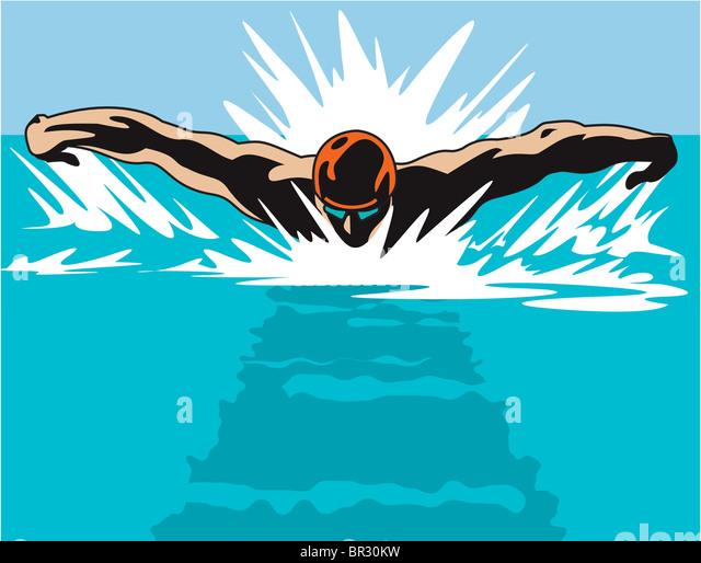 Ein Beispiel für ein Schwimmer von einem Kopf auf Perspektive Stockbild