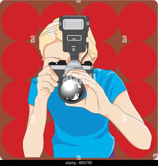 Mädchen mit Kamera Stockbild