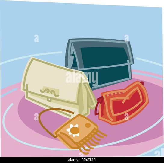 Geldbörsen in vier verschiedenen Stilen und Farben Stockbild
