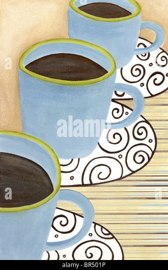 Nahaufnahme von drei Tassen Kaffee Stockbild