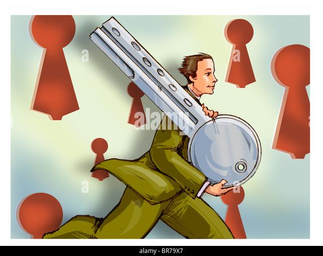 Ein Geschäftsmann mit einem riesigen Schlüssel ausgeführt Stockbild