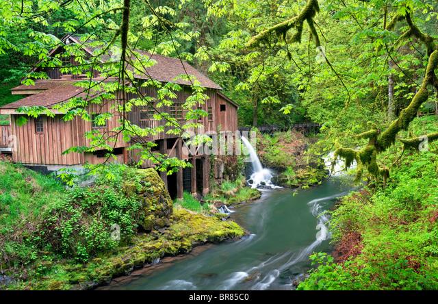 Cedar Creek Grist Mill im Frühjahr. Woodland, Washington Stockbild