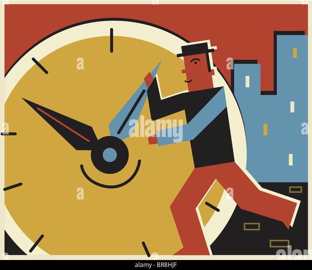 Ein Mann ändert sich die Zeit auf einer Uhr Stockbild