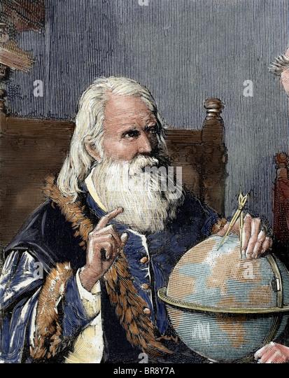 Galileo Galilei (1564-1642). Italienischer Mathematiker, Physiker und Astronom. Galileo zeigt seine astronomische Stockbild