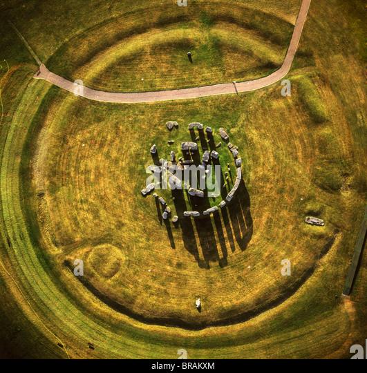 Luftaufnahme von Stonehenge, prähistorische Monument und Steinkreis, UNESCO, Salisbury Plain, Wiltshire, England, Stockbild