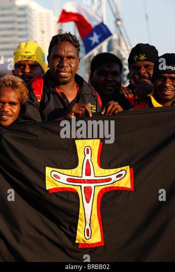 Aborigines Katholiken während der Welt Jugend Tag in Sydney, New South Wales, Australien Stockbild