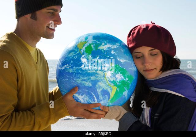 Ökologie-Konzept, den Schutz der Erde Stockbild