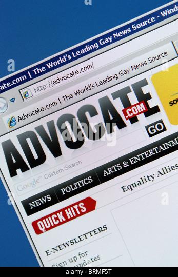 Schwule Nachrichten online Anwalt advocate.com Stockbild
