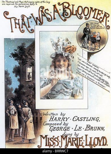 MARIE LLOYD (1870-1922) Noten für ihr Lied, das eine blühende Pflanze etwa 1895 war Stockbild