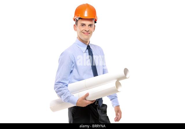 Junge Architekten Schutzhelm trägt und hält Blaupausen Stockbild
