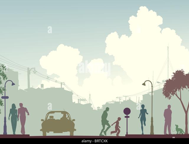 Illustriert von Silhouette an einer belebten Straße mit Textfreiraum Stockbild