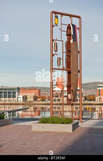 Titanic Skulptur in Titanic Quarter, Belfast Stockbild