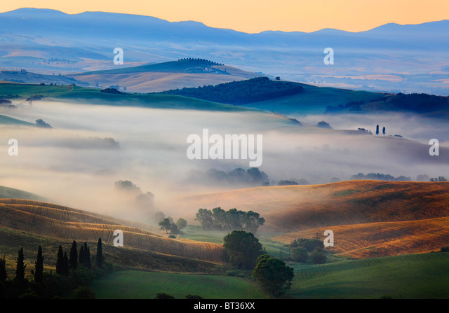 Val d ' Orcia in der Provinz Italiens Tuscany Stockbild