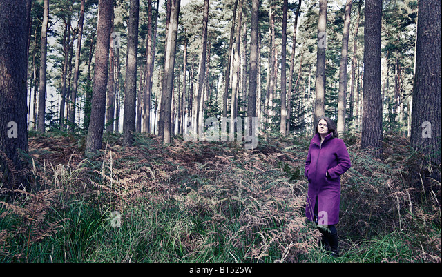 Aufnahme einer Frau in lila Mantel im Wald Stockbild