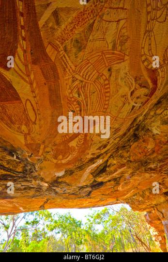 Felszeichnungen in der Kathedrale, Northern Territory, Australien, Jawoyn Land, alte Aboriginal Felsmalereien Stockbild