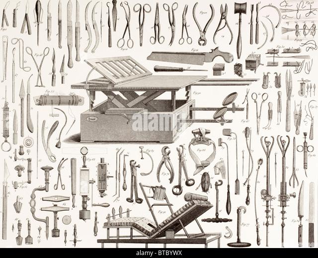 chirurgische Instrumente des 19. Jahrhunderts. Stockbild