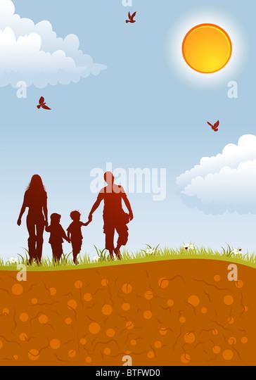 Silhouetten von Familie auf Natur Hintergrund mit Vogel, Sonne und Blume, Element für Design, Vektor-illustration Stockbild