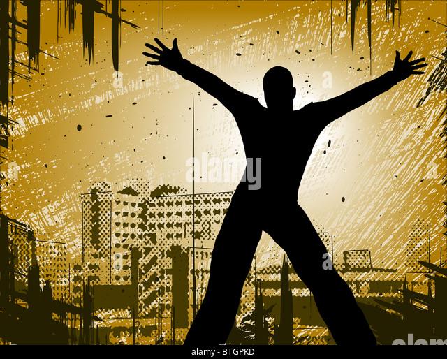 Entwurf eines Mannes in einer Stadt mit Grunge illustriert Stockbild