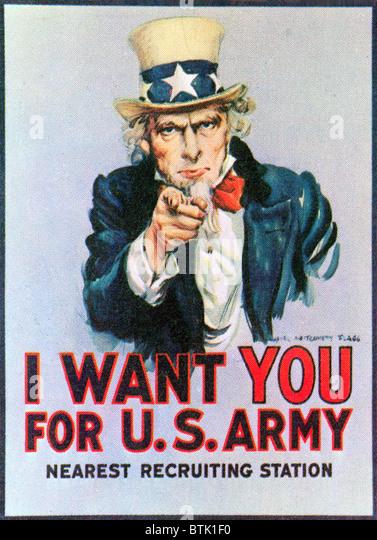 """UNCLE SAM """"I Want You"""" Armee Rekrutierung Plakat aus dem ersten Weltkrieg Stockbild"""