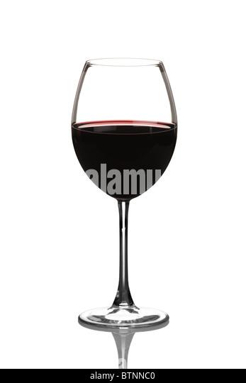 Ein Blick auf ein Rotweinglas Stockbild