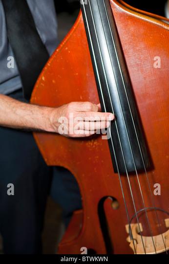Musiker, spielt den bass Stockbild