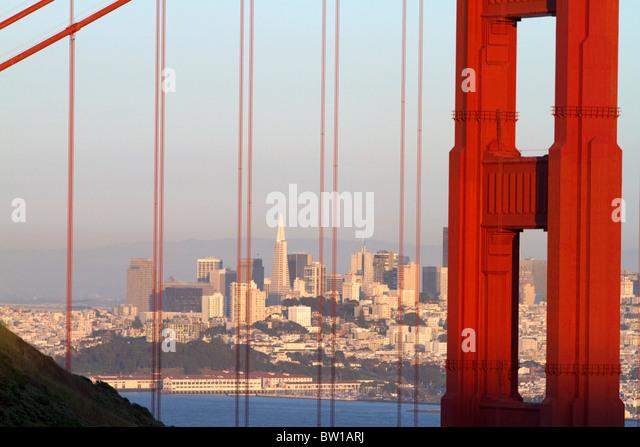 Die Golden Gate Bridge und die Stadt San Francisco, Kalifornien, USA. Stockbild