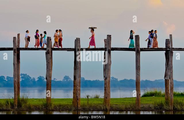UBein Brücke in der Nähe von Amarapura, Mandalay, Birma Stockbild