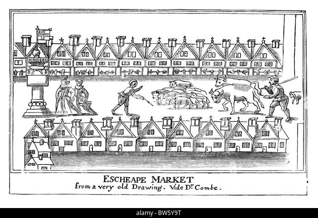 Osten billig oder Eastcheap Markt, London ca. 1598; Schwarz und weiß-Abbildung; Stockbild
