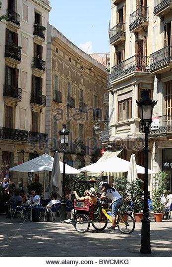 Straßenbild im Zentrum von Valencia Stockbild