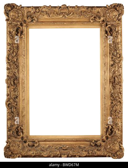 Vintage Goldrahmen isoliert auf weißem Hintergrund - mit Beschneidungspfad Stockbild