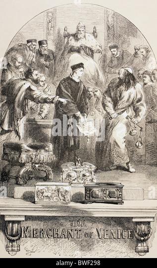 Illustration von Sir John Gilbert für den Kaufmann von Venedig von William Shakespeare. Stockbild