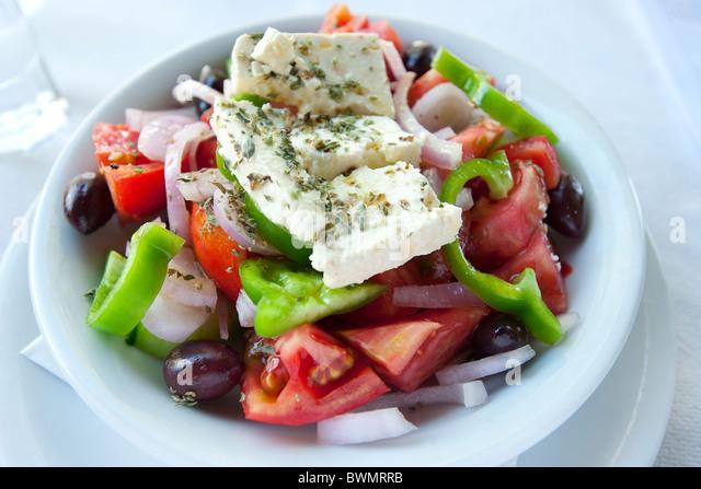 Griechischer Salat, Korfu, Griechenland Stockbild
