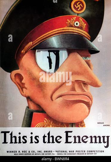 US-Plakat 1942 WW2 Geschichte historische historische zweiten Weltkrieg Nazi-deutschen Wehrmacht Feind Propaganda Stockbild